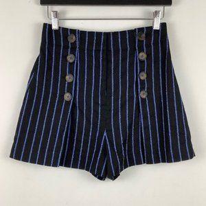 Derek Lam 10 Crosby Striped Linen Shorts in Black